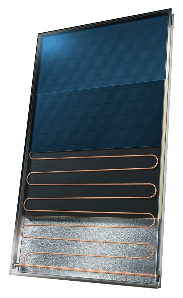 A cutaway solar thermal panel